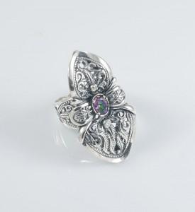 Кольцо серебряное с мистик топазом (1270мист)