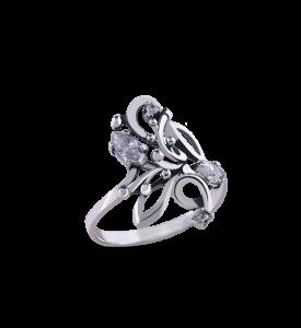 Кольцо серебряное с фианитами Сирень