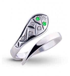 Кольцо из серебра с фианитами Змея (19010)
