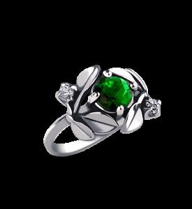 Кольцо с изумрудным фианитом Яблоневый цвет (19047з)