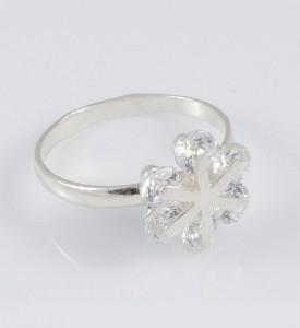 Кольцо из серебра с фианитами Снежинка (19052)
