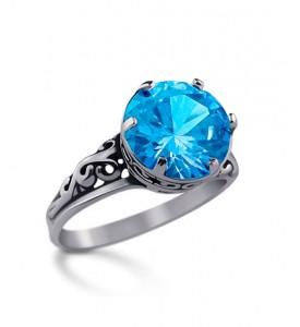Кольцо из серебра с голубым фианитом Орнамент(19057г)