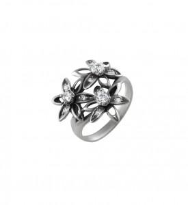 Кольцо из серебра с белыми фианитами Три цветка (19071)