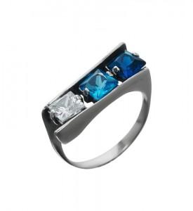 Кольцо серебряное Куб с синим фианитом