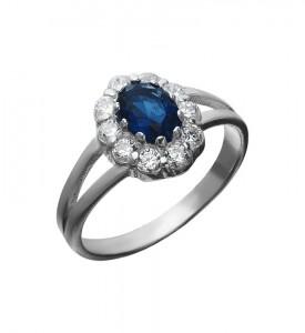 Кольцо серебряное Весна с синим фианитом