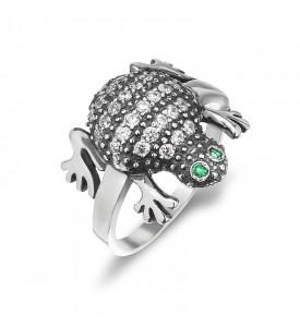 Серебреное кольцо Лягушка -циркон (19130)