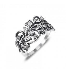 Кольцо серебряное Жаккард (19133)