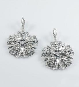 Серьги серебряные с фианитами (2585)