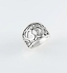 Кольцо серебряное с фианитами Два сердца (19094)