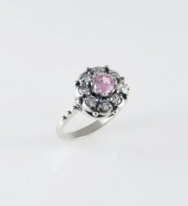 Кольцо серебряное Малинка с розовым фианитом (19832р)