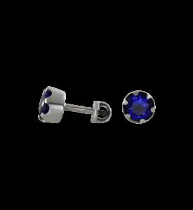 Гвоздики с синим фианитом (29006с)