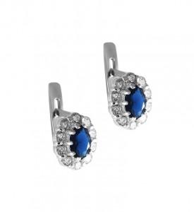 Серьги серебряные Весна с синим фианитом (29090р/с)